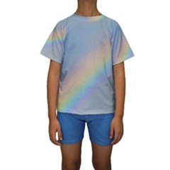 Colorful Natural Rainbow Kid s Short Sleeve Swimwear