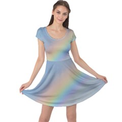 Colorful Natural Rainbow Cap Sleeve Dresses