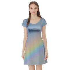 Colorful Natural Rainbow Short Sleeve Skater Dress