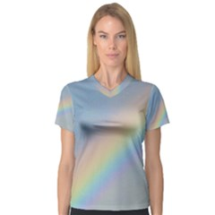 Colorful Natural Rainbow Women s V Neck Sport Mesh Tee