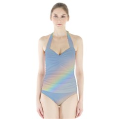 Colorful Natural Rainbow Women s Halter One Piece Swimsuit