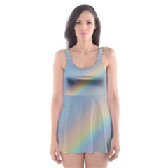 Colorful Natural Rainbow Skater Dress Swimsuit