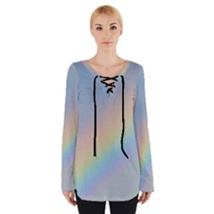Colorful Natural Rainbow Women s Tie Up Tee