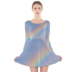 Colorful Natural Rainbow Long Sleeve Velvet Skater Dress