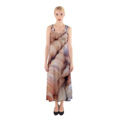 Exotic Tropical Romantic Sea Shells Full Print Maxi Dress