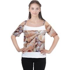 Exotic Tropical Romantic Sea Shells Women s Cutout Shoulder Tee