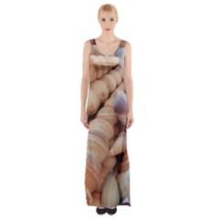 Exotic Tropical Romantic Sea Shells Maxi Thigh Split Dress