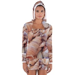 Exotic Tropical Romantic Sea Shells Women s Long Sleeve Hooded T-shirt