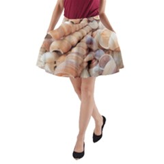 Exotic Tropical Romantic Sea Shells A-Line Pocket Skirt