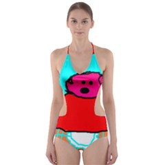 Funny Pig in Summer Red Blue Pink Kids Art Cut-Out One Piece Swimsuit