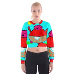 Funny Pig In Summer Red Blue Pink Kids Art Women s Cropped Sweatshirt