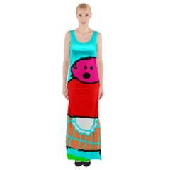 Funny Pig in Summer Red Blue Pink Kids Art Maxi Thigh Split Dress