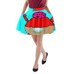 Funny Pig in Summer Red Blue Pink Kids Art A-Line Pocket Skirt