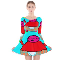 Funny Pig In Summer Red Blue Pink Kids Art Long Sleeve Velvet Skater Dress