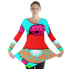 Funny Pig In Summer Red Blue Pink Kids Art Long Sleeve Tunic
