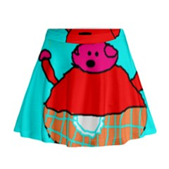 Funny Pig in Summer Red Blue Pink Kids Art Mini Flare Skirt