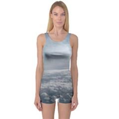 Sky Plane View One Piece Boyleg Swimsuit