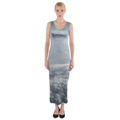 Sky Plane View Fitted Maxi Dress