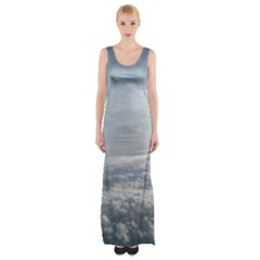 Sky Plane View Maxi Thigh Split Dress