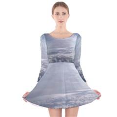 Sky Plane View Long Sleeve Velvet Skater Dress