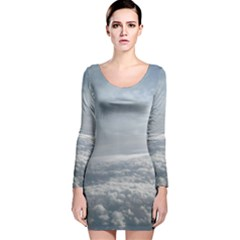 Sky Plane View Long Sleeve Velvet Bodycon Dress