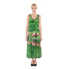 Flamingos Nature Green Pink Full Print Maxi Dress