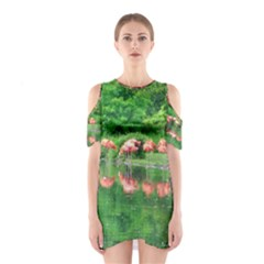 Flamingos Nature Green Pink Cutout Shoulder Dress