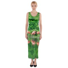 Flamingos Nature Green Pink Fitted Maxi Dress