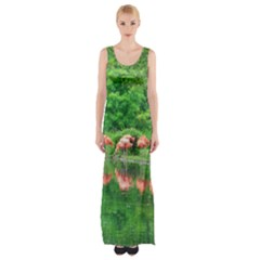 Flamingos Nature Green Pink Maxi Thigh Split Dress