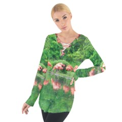 Flamingos Nature Green Pink Women s Tie Up Tee