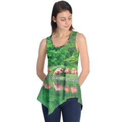 Flamingos Nature Green Pink Sleeveless Tunic
