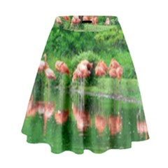 Flamingos Nature Green Pink High Waist Skirt