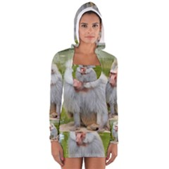 Grey Monkey  Women s Long Sleeve Hooded T Shirt