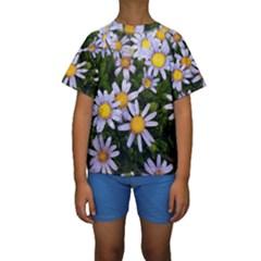 Yellow White Daisy Flowers Kid s Short Sleeve Swimwear