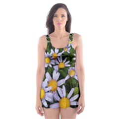 Yellow White Daisy Flowers Skater Dress Swimsuit
