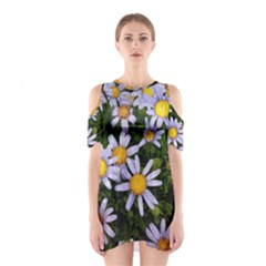 Yellow White Daisy Flowers Cutout Shoulder Dress
