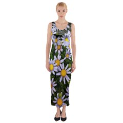 Yellow White Daisy Flowers Fitted Maxi Dress