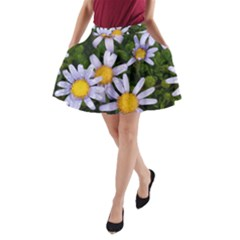 Yellow White Daisy Flowers A-Line Pocket Skirt
