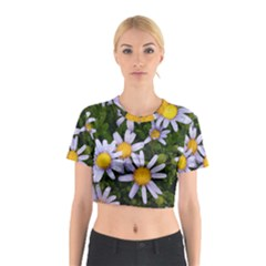 Yellow White Daisy Flowers Cotton Crop Top