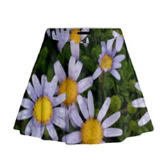 Yellow White Daisy Flowers Mini Flare Skirt