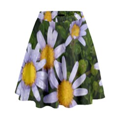 Yellow White Daisy Flowers High Waist Skirt