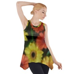 Orange Yellow Flowers Side Drop Tank Tunic