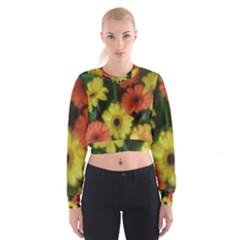 Orange Yellow Flowers Women s Cropped Sweatshirt