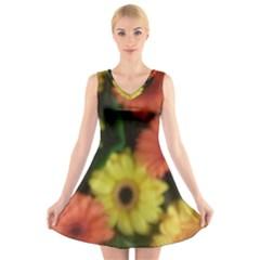 Orange Yellow Flowers V-Neck Sleeveless Skater Dress