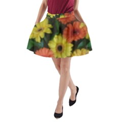 Orange Yellow Flowers A-Line Pocket Skirt
