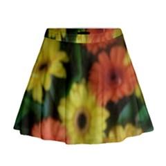 Orange Yellow Flowers Mini Flare Skirt