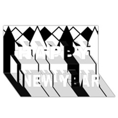 Funny Black And White Stripes Diamonds Arrows Happy New Year 3d Greeting Card (8x4)