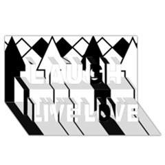 Funny Black and White Stripes Diamonds Arrows Laugh Live Love 3D Greeting Card (8x4)