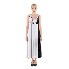 Funny Black and White Stripes Diamonds Arrows Full Print Maxi Dress