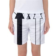 Funny Black and White Stripes Diamonds Arrows Women s Basketball Shorts